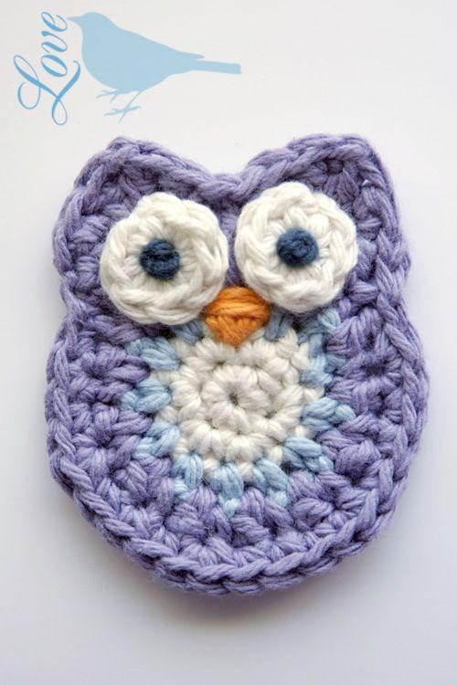 Crochet-A-Day: 9 Crochet Animal Appliqués | Owl crochet patterns .