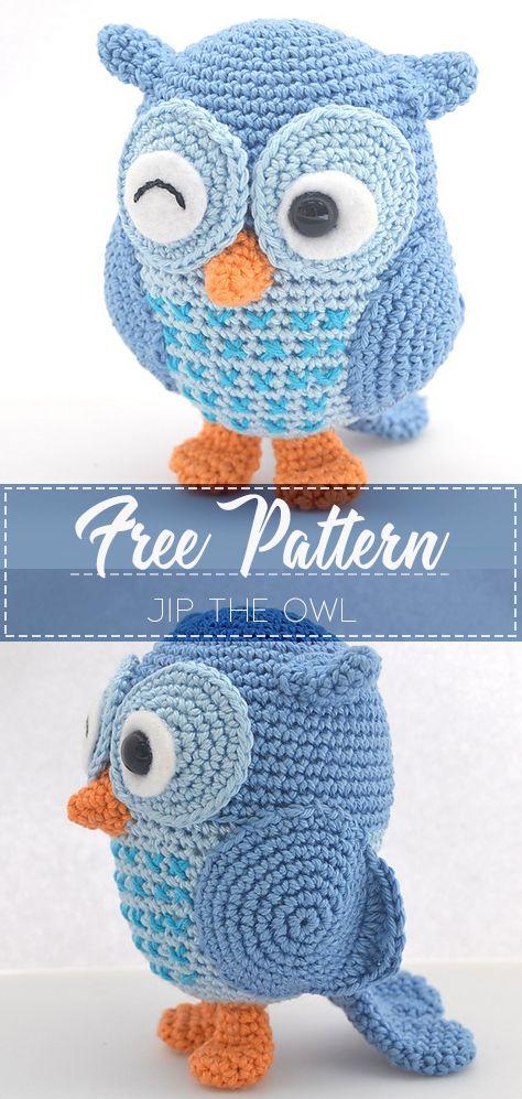 JIP THE OWL – FREE CROCHET PATTERN #amigurumi #owl #crochet .