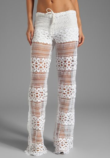 ALEXIS Michela Lace Pant With Drawstring in White Crochet - Pants .