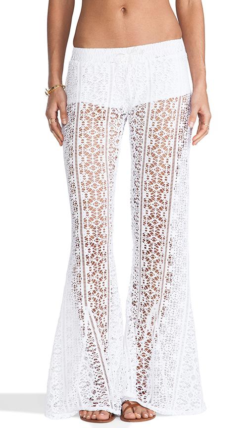 Bettinis Crochet Flare Pants in White Wash | REVOL