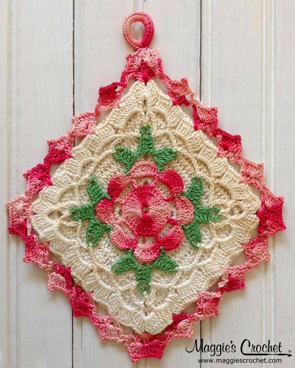 Flower Embellished Vintage Crochet Potholders | Crochet potholders .