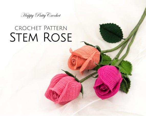 Crochet Rose Pattern Crochet Flower Pattern for a Stem Rose   Et
