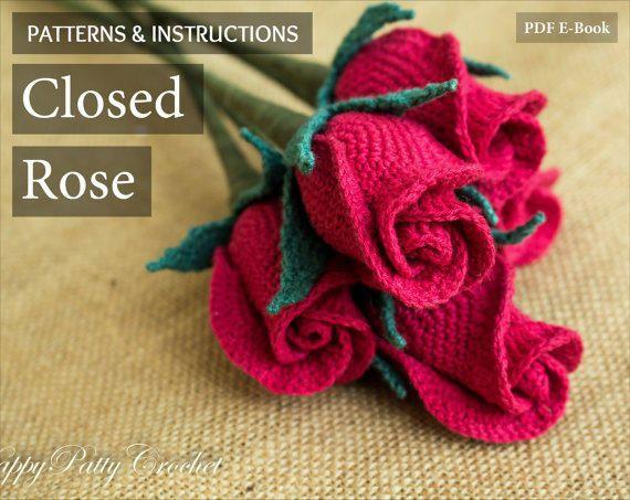 Crochet Flower Pattern - Closed Rose Pattern - Crochet Rose - Stem .