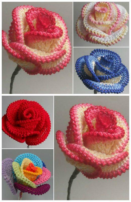 Crochet Rose Wire Petaled Rose Free Pattern   Crochet flower .