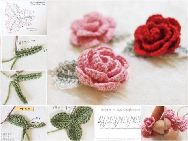 DIY 3D Crochet Rose With Stem Free Patte