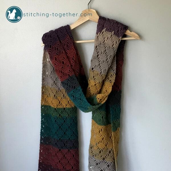 Wrap me in Diamonds Crochet Scarf | Stitching Togeth