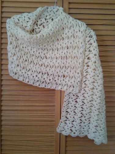 Ivory Rectangle Prayer Shawl by Blooming Rose Crochet. $28.00 .