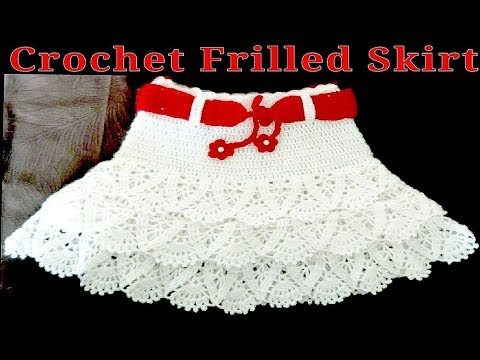 How To Crochet Cute Baby Girl Frilled Lacy Skirt - YouTu