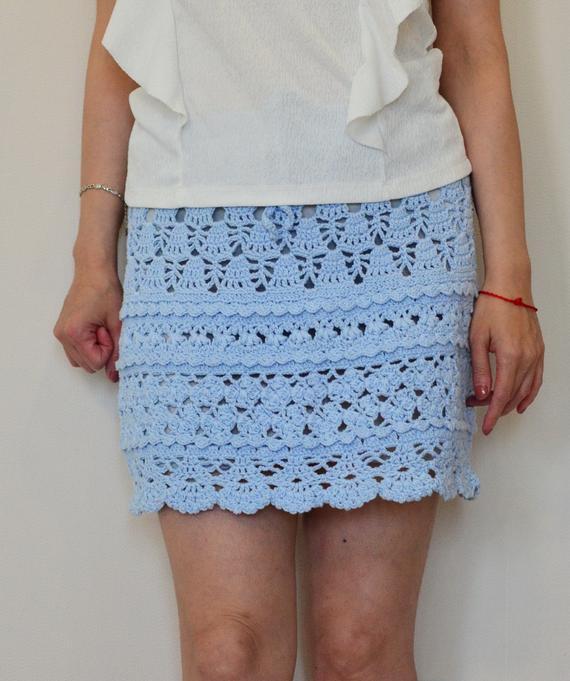 Crochet boho skirt Lace cover up crochet beach skirt blue | Et