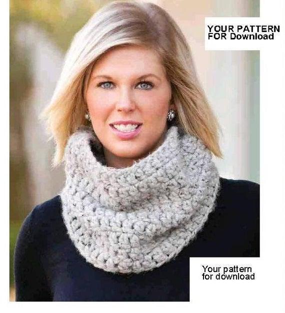Crochet snood pdf Loop scarf pattern Easy crochet snood Snood   Et