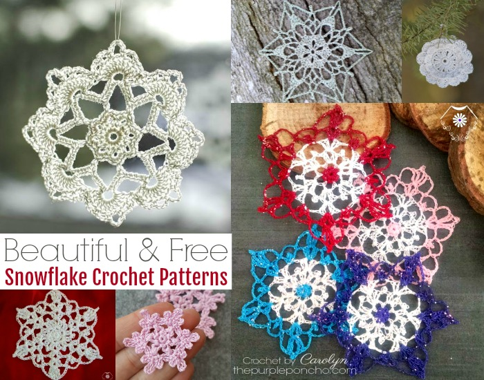 12 Beautiful & Free Snowflake Crochet Patter