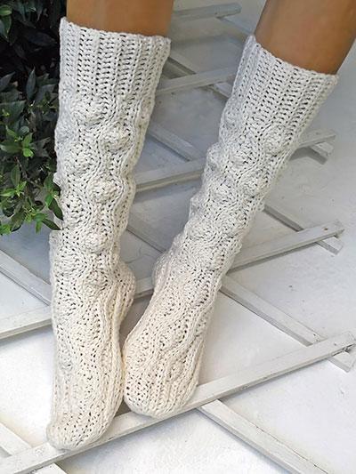 Crochet Socks Patterns - Aran Wave Socks Crochet Patte