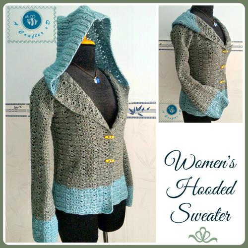 Women's Hooded Sweater | AllFreeCrochet.c
