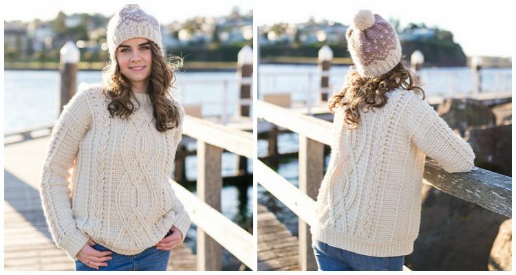 Meara Fisherman Cabled Sweater Crochet Free Pattern - Fall Winter .