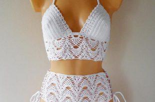 High Waist Crochet Swimsuit Lace High Waisted Crochet Bikini   Et