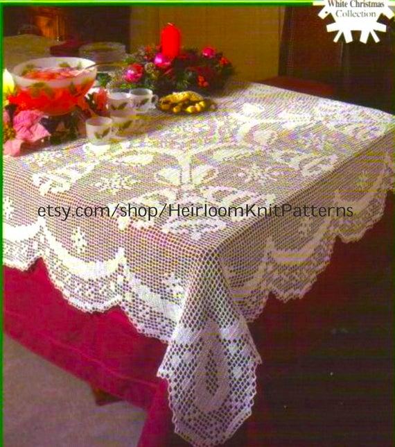 Christmas Filet Crochet Tablecloth Vintage Pattern Bells &   Et