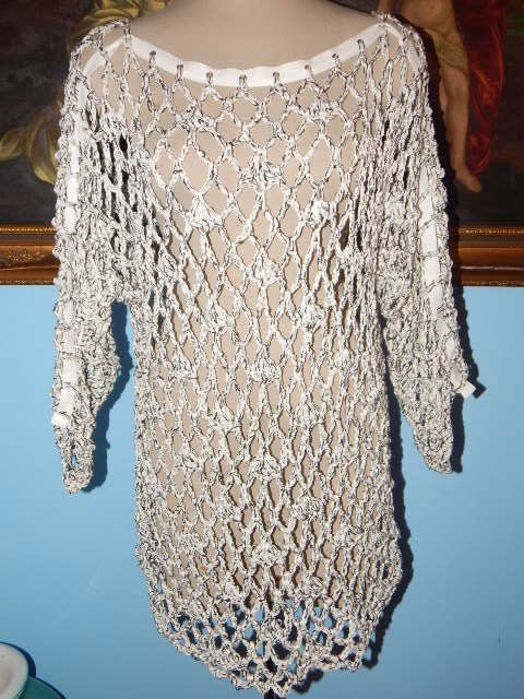 Vintage Lorna Adams Chunky Crochet Tunic Top Dress-S | eB