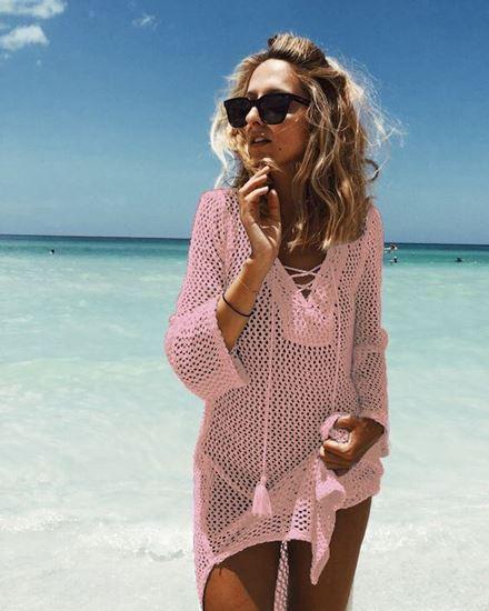NFASHIONSO Women's Fashion Swimwear Crochet Tunic Cover Up/Beach .