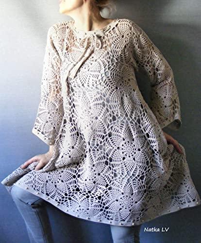 Amazon.com: Crochet boho dress, oatmeal crocheted tunic, bohemian .