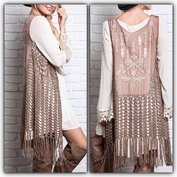 Tops | Fringed Sleeveless Crochet Vest | Poshma