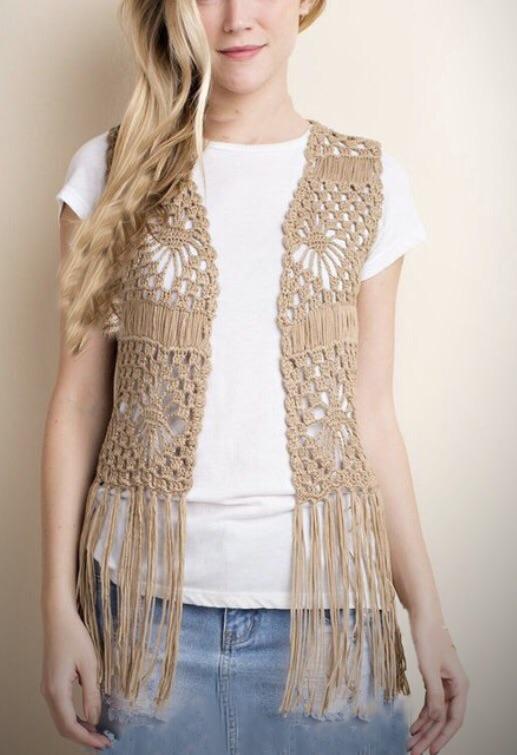 Brit Crochet Vest- Cream/Black/Mocha – The Ginger Bra