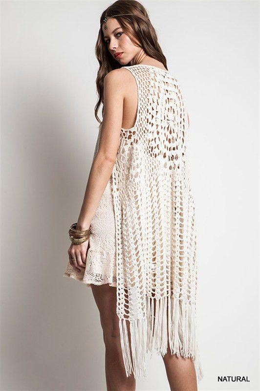The Urban Hippie - sleeveless long Crochet Fringed Vest .