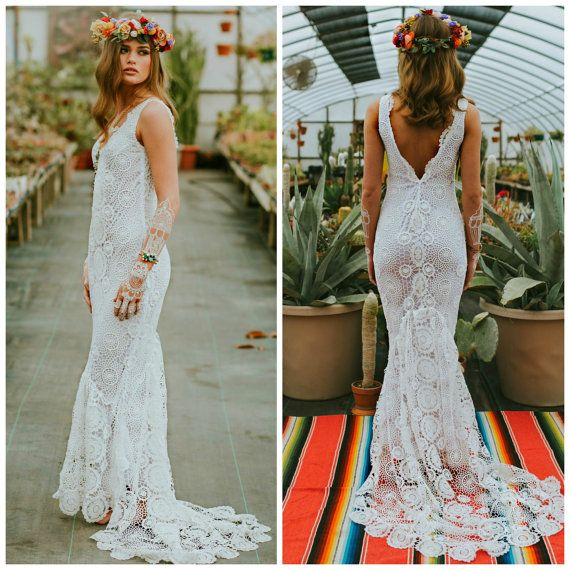 Crochet wedding dress, boho wedding dress, crochet lace wedding .