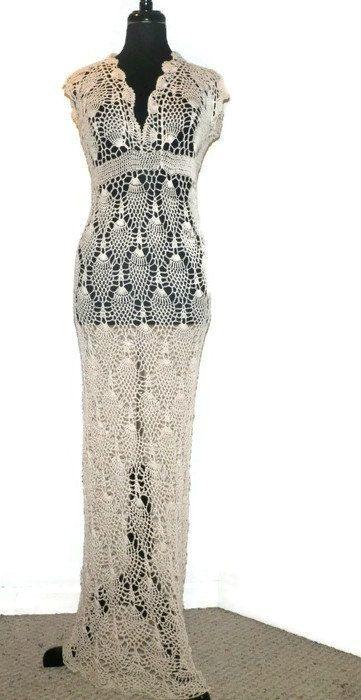 Lace crochet wedding dress pineapple crochet by CrochetByMel .
