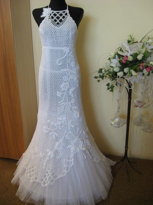 free hand crochet wedding gown   CROCHET PATTERN FOR WEDDING DRESS .