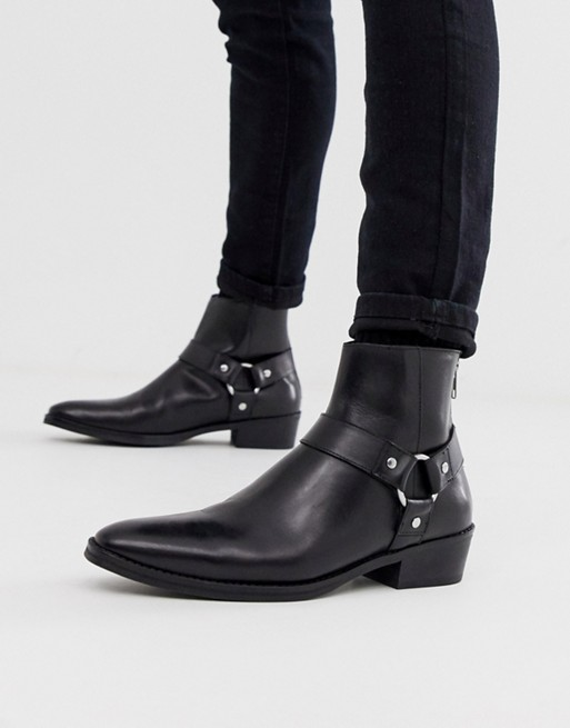 ASOS DESIGN cuban heel western chelsea boots in black leather with .