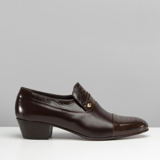 Club Cubano VALENCIA Mens Reptile Cuban Heel Shoes Dark Brown |Shupe