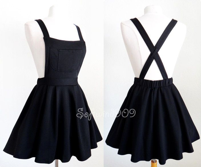 Soft Knit Crisscross Suspender High Waisted Pleated CUTE Overall .