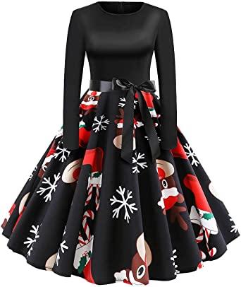 Amazon.com: Holiday Cocktail Dress Women Long Sleeve Cute EIK Tree .