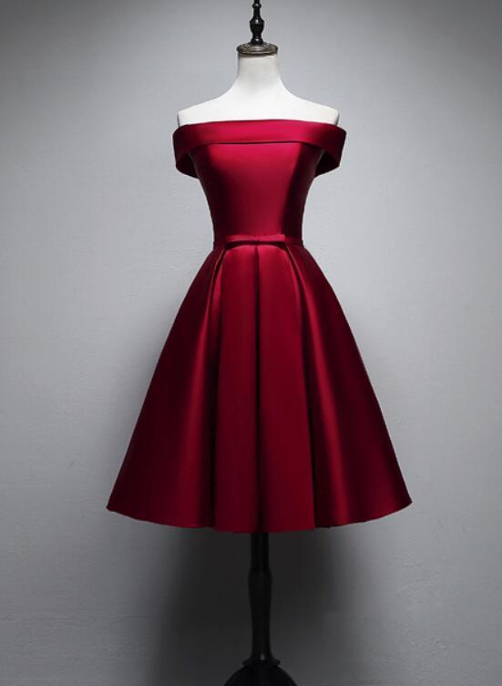 Wine Red Cute Short Homecoming Dresses, | BeMyBridesma