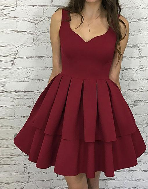 Cute A-line Short Burgundy Homecoming Dress Prom by dresses on Zibb