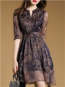 Floral Imprint Chiffon Short Day Dress | Printed casual dresses .