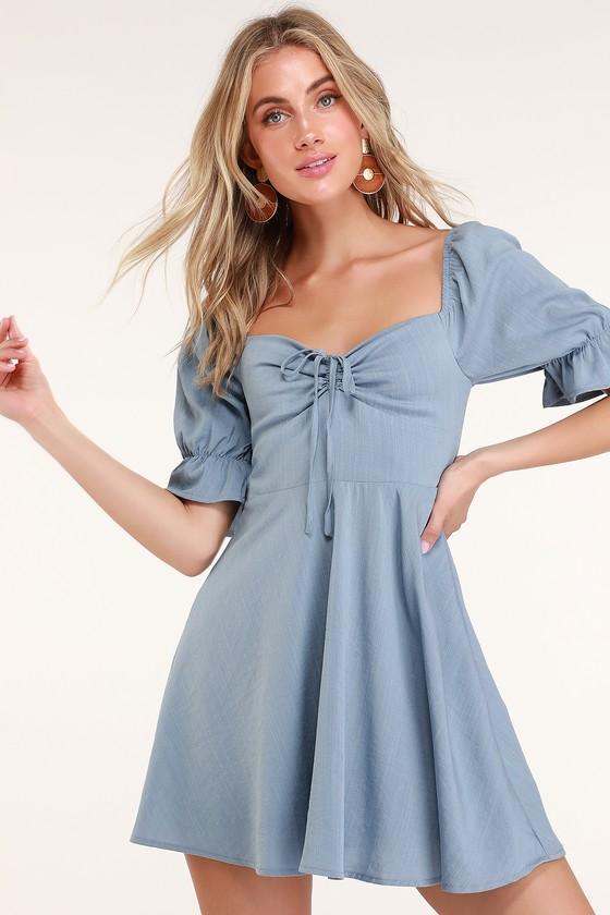 Pretty Puff Sleeve Dress - Blue Mini Dress - Casual Day Dre