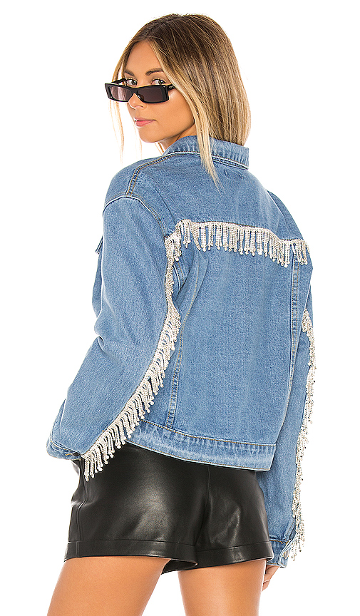 superdown Raya Rhinestone Fringe Jacket in Light Blue Wash   REVOL