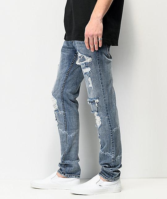 Broken Promises Heartless Laser & Barbed Wire Denim Jeans | Zumi