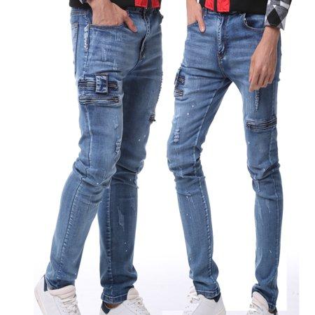 Men's Ripped Jeans Black Slim Fit Motorcycle Jeans Men Vintage .