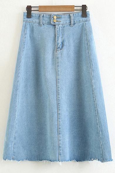Plain Double Buttons Midi A-Line Denim Skirt with Pockets .