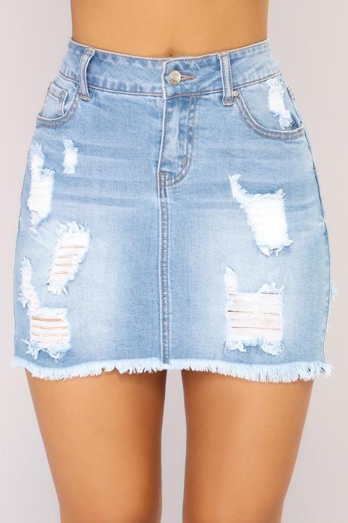 Love Me Now Denim Skirt - Light Wash | Ripped denim skirts, Denim .