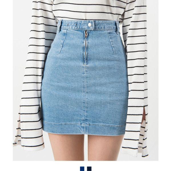 Patch Pocket High Waist Denim Mini Skirt ❤ liked on Polyvore .