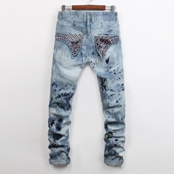 New Men's Fashion Jeans Pants Casual Trousers hot mens designer .