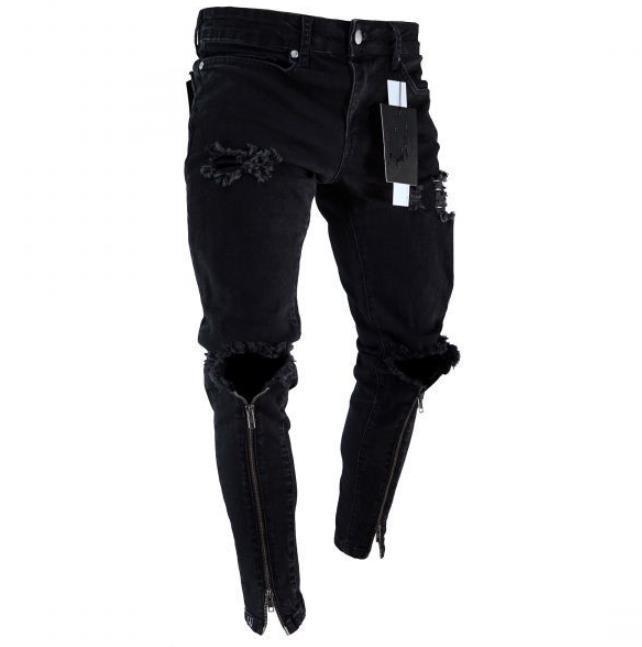 2020 Mens Zipper Holes Designer Jeans Black Ripped Slim Fit .