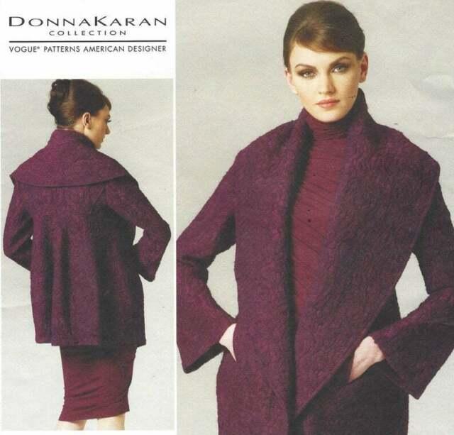 Vogue V1263 DESIGNER Shawl Collar Jacket Pattern Donna Karan Size .