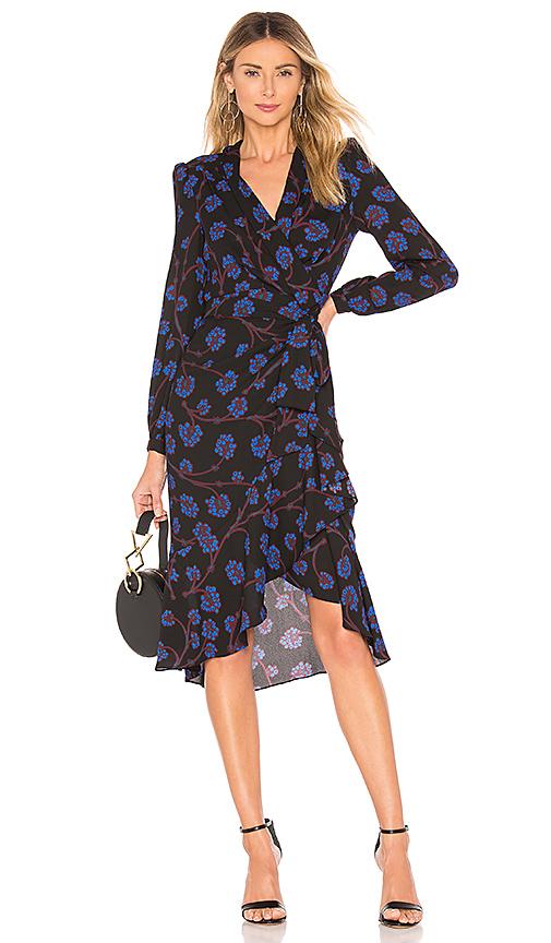 Diane von Furstenberg Jovie Wrap Dress in Dragon Berry Sapphire .