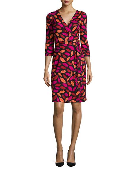 Diane von Furstenberg New Julian Lipstick-Print Wrap Dre