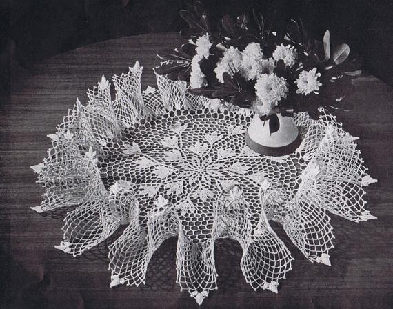 Vintage Ruffled Doily Patterns Mid Century Crochet Ruffle   Et