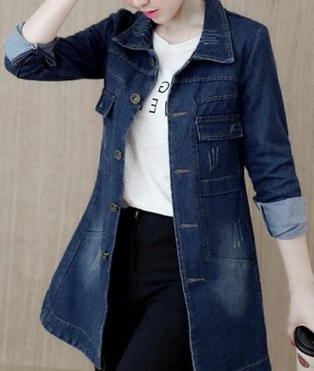 Office Slim Denim Long Women Jeans Jacket Coat | cheapsalemarket.c